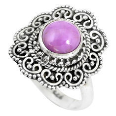 925 silver 3.29cts natural purple phosphosiderite solitaire ring size 7.5 p28976