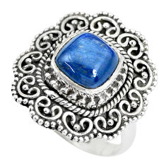 3.41cts natural blue kyanite 925 sterling silver solitaire ring size 6.5 p28981