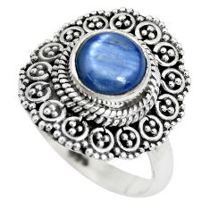 3.38cts natural blue kyanite 925 sterling silver solitaire ring size 8 p28989