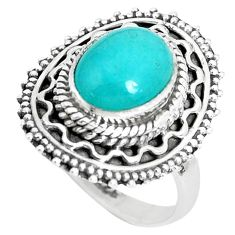 925 silver 4.38cts natural green peruvian amazonite solitaire ring size 7 p29104