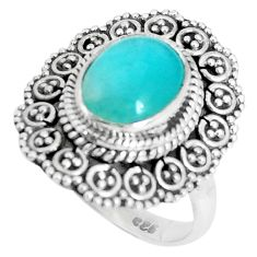 925 silver 4.55cts natural green peruvian amazonite solitaire ring size 7 p29109