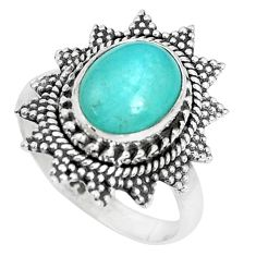 4.40cts natural green peruvian amazonite 925 silver solitaire ring size 7 p29111