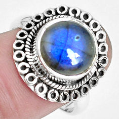 5.52cts natural blue labradorite 925 silver solitaire ring jewelry size 8 p29115