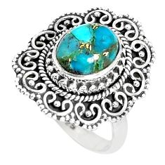 4.70cts blue copper turquoise 925 sterling silver solitaire ring size 7 p29149