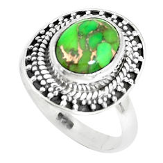 4.28cts green copper turquoise 925 silver solitaire ring jewelry size 7 p29170
