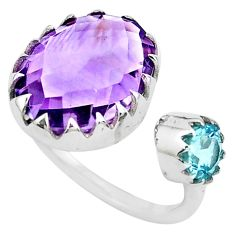 7.67cts natural purple amethyst topaz 925 silver adjustable ring size 4 p29783
