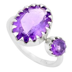 6.64cts natural purple amethyst oval 925 silver adjustable ring size 6 p29801