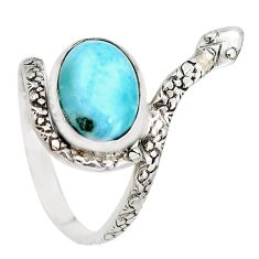 925 silver 5.52cts natural blue larimar snake solitaire ring size 10 p29868