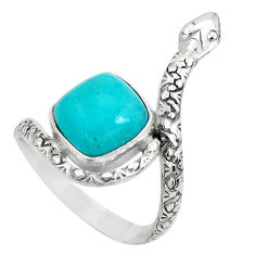 Natural green peruvian amazonite 925 silver snake solitaire ring size 8 p29893