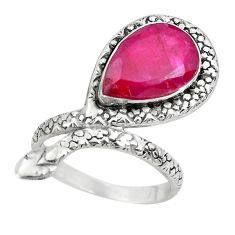 6.32cts natural red ruby 925 silver snake solitaire ring jewelry size 8.5 p29923