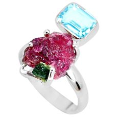12.96cts natural watermelon tourmaline rough topaz 925 silver ring size 8 p30107