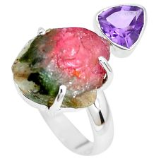 13.27cts natural watermelon tourmaline rough 925 silver ring size 8.5 p30111