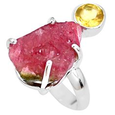 13.77cts natural watermelon tourmaline rough 925 silver ring size 7 p30119