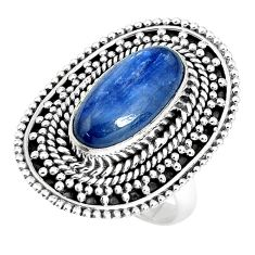 6.78cts natural blue kyanite 925 sterling silver solitaire ring size 8 p30282
