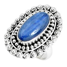 6.42cts natural blue kyanite 925 sterling silver solitaire ring size 7.5 p30283