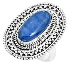 5.81cts natural blue kyanite 925 sterling silver solitaire ring size 7.5 p30286