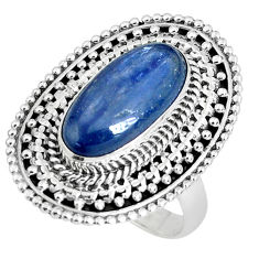 6.15cts natural blue kyanite 925 sterling silver solitaire ring size 8 p30287