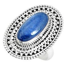 6.15cts natural blue kyanite 925 sterling silver solitaire ring size 7.5 p30297