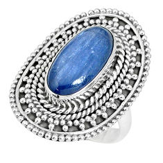 925 sterling silver 6.61cts natural blue kyanite solitaire ring size 7.5 p30298