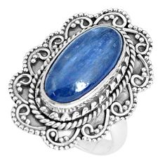 5.62cts natural blue kyanite 925 sterling silver solitaire ring size 7 p30299