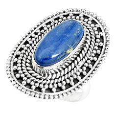 6.78cts natural blue kyanite 925 sterling silver solitaire ring size 7 p30300