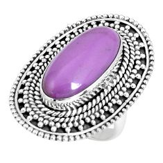10.82cts natural purple phosphosiderite 925 silver solitaire ring size 6 p30318