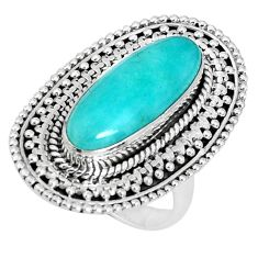 7.85cts natural green peruvian amazonite 925 silver solitaire ring size 7 p30327