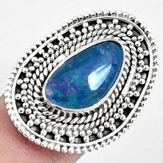 Natural blue australian opal triplet 925 silver solitaire ring size 7.5 p30343