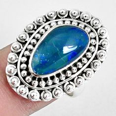 Natural blue australian opal triplet 925 silver solitaire ring size 7.5 p30378