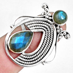 5.41cts natural blue labradorite 925 sterling silver ring jewelry size 8 p30670
