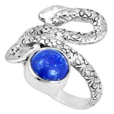 3.42cts natural blue lapis lazuli 925 sterling silver snake ring size 7 p30863