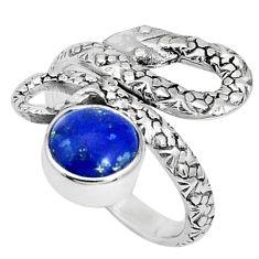 925 silver 3.28cts natural blue lapis lazuli round snake ring size 7 p30864