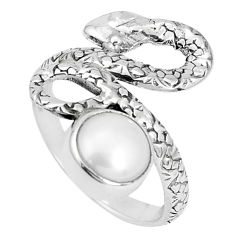 3.42cts natural white pearl 925 sterling silver snake ring size 5.5 p30870