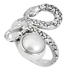 925 sterling silver 3.36cts natural white pearl round snake ring size 7.5 p30871