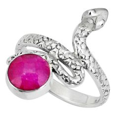 3.52cts natural red ruby 925 sterling silver snake ring jewelry size 8.5 p30882