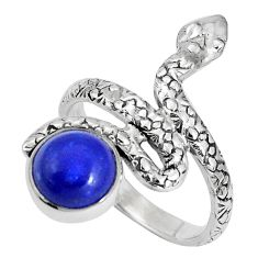 925 sterling silver 3.36cts natural blue lapis lazuli snake ring size 7.5 p30889