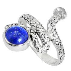 3.28cts natural blue lapis lazuli 925 sterling silver snake ring size 7 p30890