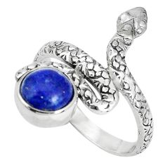 3.40cts natural blue lapis lazuli 925 sterling silver snake ring size 9 p30891