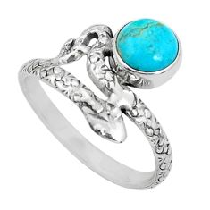 3.19cts blue arizona mohave turquoise 925 silver snake ring size 10 p31321
