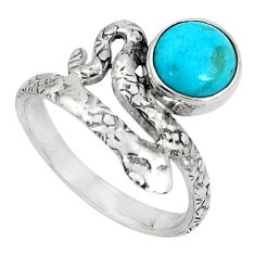 3.20cts blue arizona mohave turquoise 925 silver snake ring size 8.5 p31325