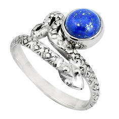 3.37cts natural blue lapis lazuli 925 silver snake ring jewelry size 9.5 p31326