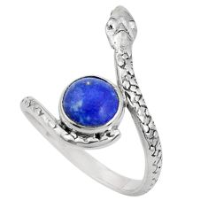 3.62cts natural blue lapis lazuli 925 sterling silver snake ring size 9 p31342