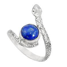 925 silver 3.50cts natural blue lapis lazuli round snake ring size 8.5 p31343