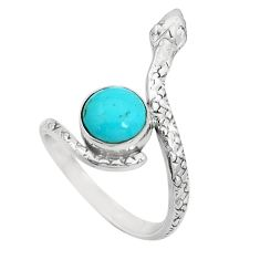 3.32cts green arizona mohave turquoise 925 silver snake ring size 8 p31344