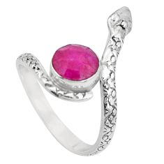 4.03cts natural red ruby 925 sterling silver snake ring jewelry size 10 p31350