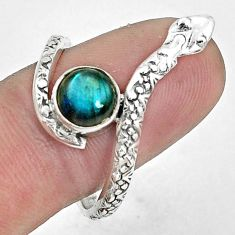 2.44cts natural blue labradorite 925 sterling silver snake ring size 9.5 p31353