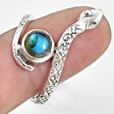 925 sterling silver 2.21cts natural blue labradorite snake ring size 9.5 p31355
