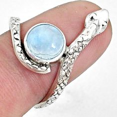 3.50cts natural rainbow moonstone 925 sterling silver snake ring size 8 p31356
