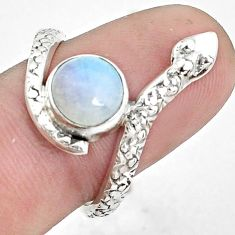 3.50cts natural rainbow moonstone 925 sterling silver snake ring size 8 p31360