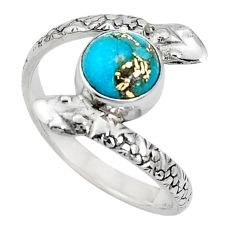 3.62cts blue copper turquoise 925 sterling silver snake ring size 10 p31365